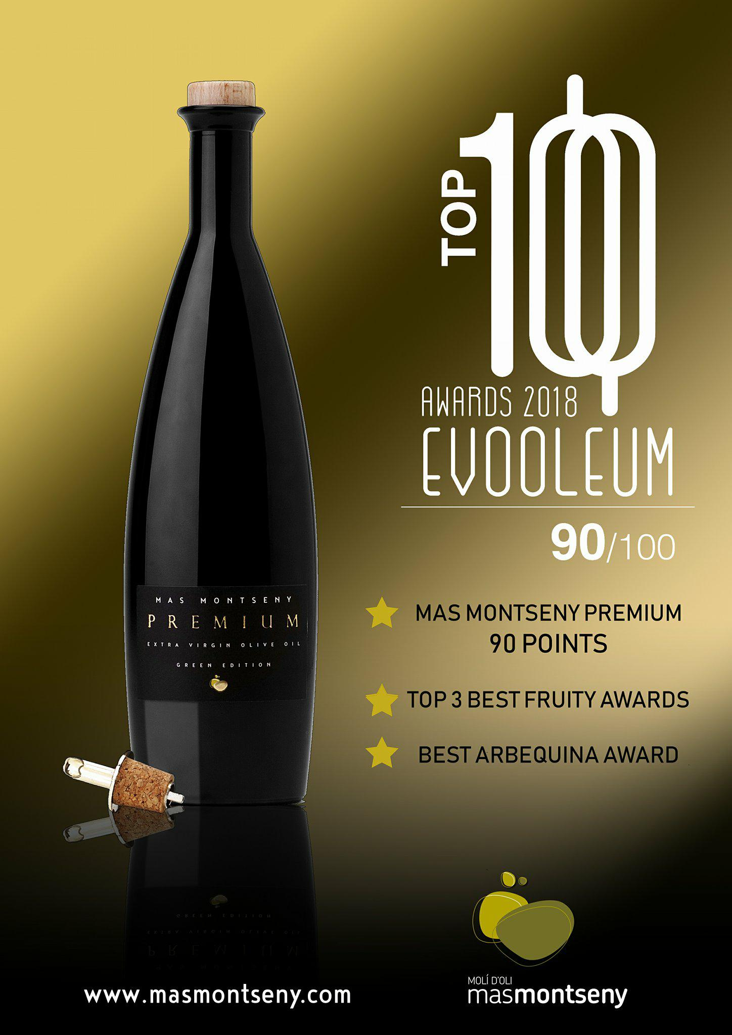 Top 100 EVOOLEUM. 90 Points. Top3 Best Fruity. Best Arbequina.